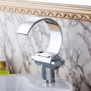 Modern Chrome Finish Single Installation Hole Single Handle Sink Tap Waterfall Bathroom Sink Faucet