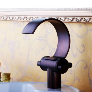 Oil-rubbed Bronze Single Installation Hole Single Handle Sink Tap Waterfall Bathroom Sink Faucet
