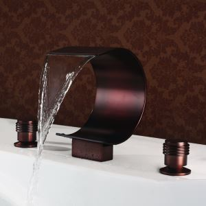 Antique Oil-rubbed Bronze Waterfall Sink Tap Double Handles Three Installation Holes Bathroom Sink Faucet