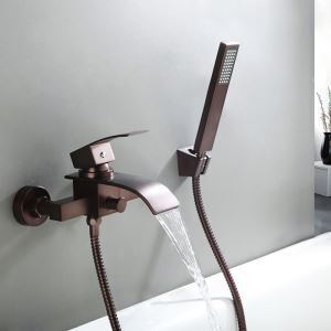 Antique Brass Oil-rubbed Bronze Single Handle Two Installation Holes Wall Mounted Waterfall Shower Faucet with Handheld Shower