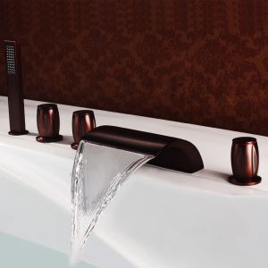 Antique Oil-rubbed Bronz Double Handles Five Installation Holes Waterfall Bathtub Faucets with Handheld Shower