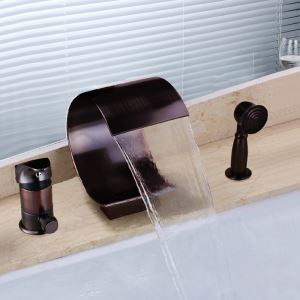 Antique Oil-rubbed Bronz Single Handle Three Installation Holes Waterfall Bathtub Faucets with Handheld Shower