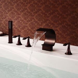 Antique Oil-rubbed Bronz Three Handles Five Installation Holes Waterfall Bathtub Faucets with Handheld Shower