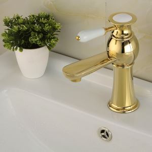 Modern Sink Tap Single Installation Hole Single Handle Ti-PVD Bathroom Sink Faucet