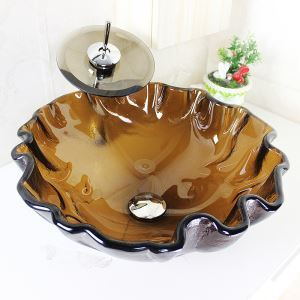 Modern Round Wave Rim Brown Tempered Glass Sink and Faucet sets with Waterfall Faucet Water Drain Mounting Ring