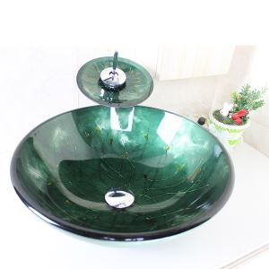 Modern Round Dark Green Tempered Glass Sink and Faucet sets with Waterfall Faucet Water Drain Mounting Ring