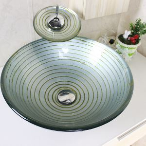 Modern Round Silver Whirlpool Tempered Glass Sink and Faucet sets with Waterfall Faucet Water Drain Mounting Ring