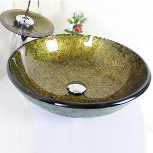 Modern Round Golden Tempered Glass Sink and Faucet sets with Waterfall Faucet Water Drain Mounting Ring