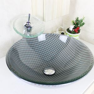 Modern Round Grey and White Grids Tempered Glass Sink and Faucet sets with Waterfall Faucet Water Drain Mounting Ring