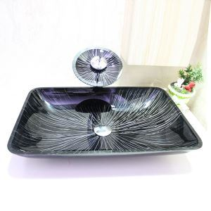 Modern Rectangle Tempered Glass Sink and Faucet sets with Waterfall Faucet Water Drain Mounting Ring
