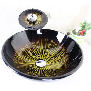 Modern Round Tempered Glass Sink and Faucet sets with Waterfall Faucet Water Drain Mounting Ring
