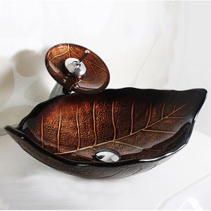 Modern Round Leaf Featured Tempered Glass Sink and Faucet sets with Waterfall Faucet Water Drain Mounting Ring