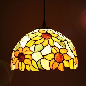 European Country Vintage Sunflower Pattern Glass Shade Indoor Tiffany Chandelier Bedroom Pendant Ceiling Light