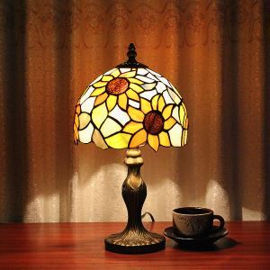 (In Stock)European Country Vintage Sunflower Pattern Glass Shade Indoor Tiffany Table Lamp Bedroom Tiffany Table Light