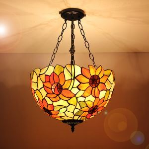 16 inch European Country Vintage Sunflower Pattern Glass Shade Indoor Tiffany Chandelier Bedroom Pendant Ceiling Light