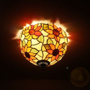 12 inch European Country Vintage Sunflower Pattern Glass Shade Indoor Tiffany Flush Mount Lighting Bedroom Pendant Ceiling Light