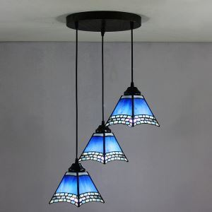 (In Stock) 6 inch European Country Vintage Glass Shade Indoor Tiffany Chandelier Bedroom Pendant Ceiling Light
