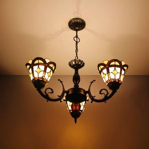 6 inch European Country Vintage Glass Shade Indoor Tiffany Chandelier Bedroom Pendant Ceiling Light