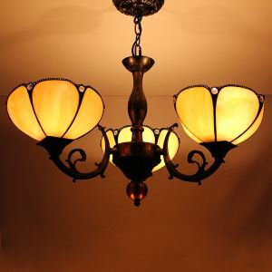 Rural Petal Pendant Light European Country Vintage Glass Shade Indoor Tiffany Chandelier Bedroom Pendant Ceiling Light