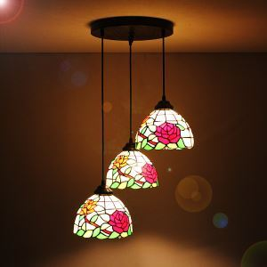 (In Stock) 8 inch European Country Vintage Glass Shade Indoor Tiffany Chandelier Bedroom Pendant Ceiling Light