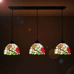 Wonderful Downward Pendant Light European Country Vintage Glass Shade Indoor Tiffany Chandelier Bedroom Pendant Ceiling Light