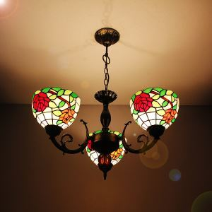 8 inch European Country Vintage Glass Shade Indoor Tiffany Chandelier Bedroom Pendant Ceiling Light