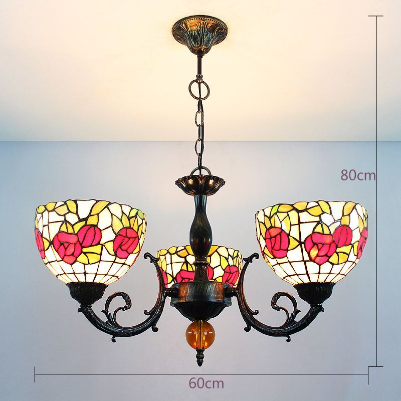 lighting tiffany lights tiffany chandeliers 8 inch european country vintage glass shade indoor - Tiffany Chandelier