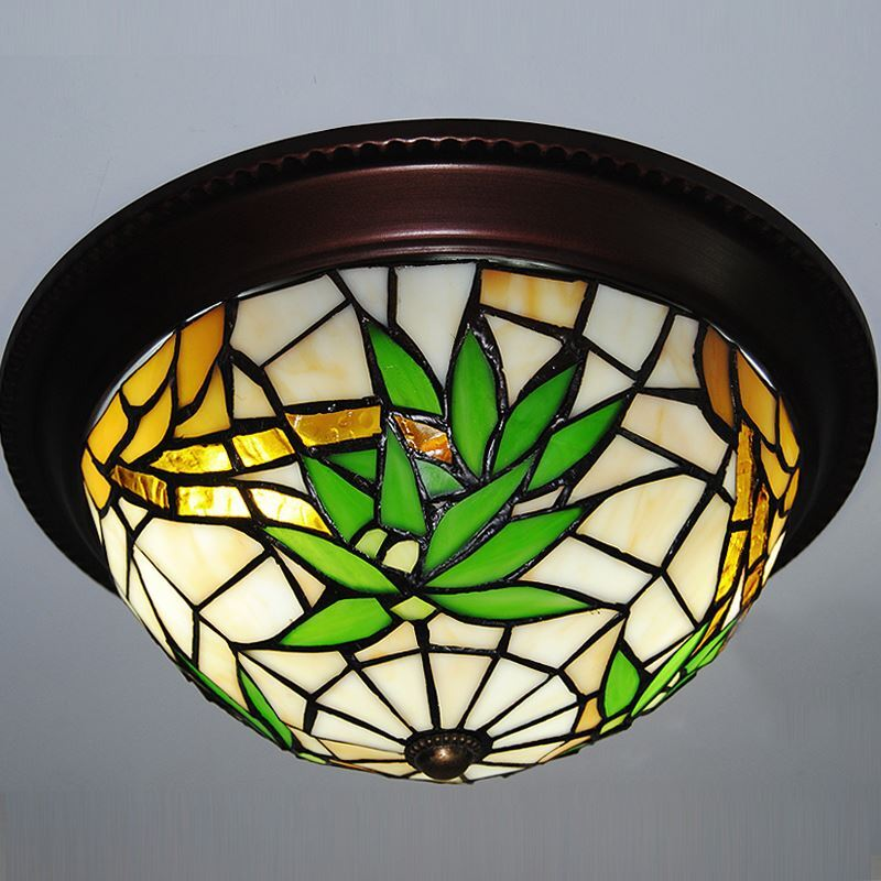 Image of 10 inch European Country Vintage Bamboo Leaves Pattern Glass Shade Indoor Bedroom Tiffany Flush Mount Lighting