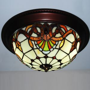 10 inch European Country Vintage Glass Shade Indoor Bedroom Tiffany Flush Mount Lighting Ceiling Light