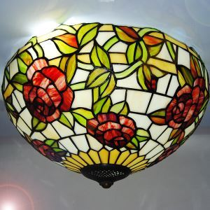 European Country Vintage Glass Shade Indoor Bedroom Tiffany Flush Mount Lighting Ceiling Light