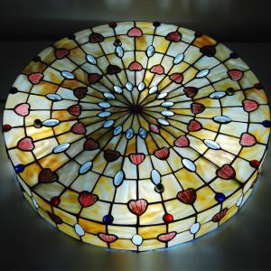 20 inch European Country Vintage Glass Shade Indoor Bedroom Tiffany Flush Mount Lighting Ceiling Light