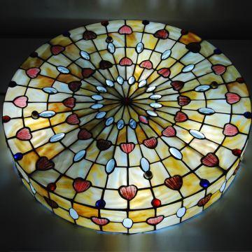 20 Inch Tiffany Flush Mount European Country Vintage Glass Shade Indoor Bedroom Tiffany Flush
