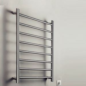 70W Modern Simple Style Towel Warmer Silver Wall Mounted Stainless Steel Towel Warmer
