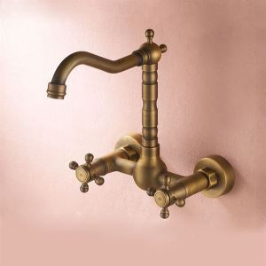 (In Stock)Antique inspired Kitchen Faucet - Wall Mount (Antique Brass Finish)