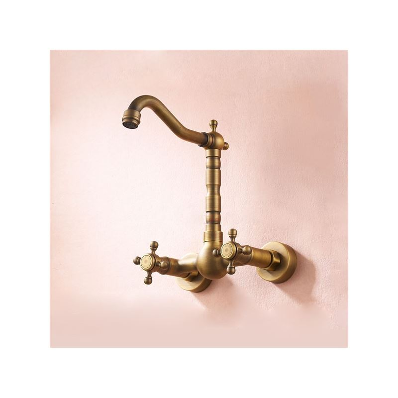 ... Faucets   Bathtub Faucets   Antique Inspired Kitchen Faucet   Wall Mount  (Antique Brass Finish ...