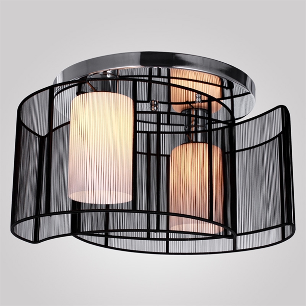 Modern Flush Mount Ceiling Light Bedroom Living Room Lighting Fixture With 2 Lights Black
