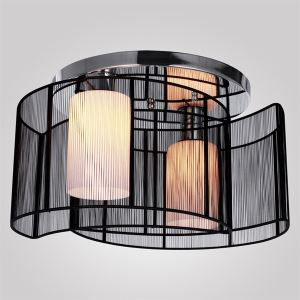 Modern Flush Mount Ceiling Light Bedroom Living Room Lighting Fixture with 2 Lights Black