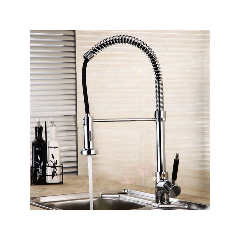 solid brass spring kitchen faucet chrome finish
