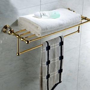 Antique Golden Double-layer Towel Rail Copper & Natural Crystal Towel Bar Towel Rack