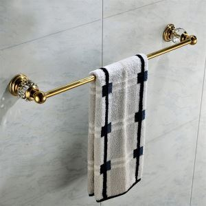 Antique Golden Single layer Towel Rail Copper & Natural Crystal Towel Bar Towel Rack