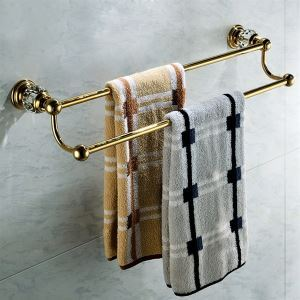 Antique Golden Double-layer Towel Rail Copper & Natural Crystal Towel Bar Towel Rack