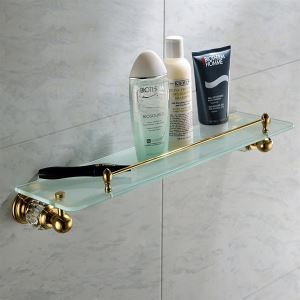 Contemporary Golden Glass Shelf Single-layer Copper & Natural Crystal Bath Shelf