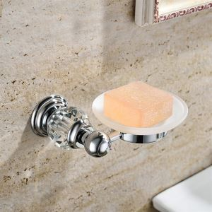 New Modern Chrome-colored Wall Mounted Soap Dish Holder Copper & Natural Crystal Soap Holder
