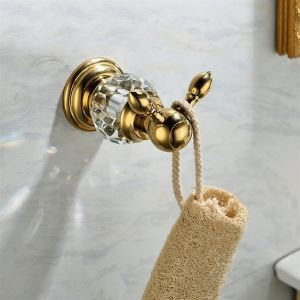 Contemporary Gold Wall Mouted Single Copper & Naturakl Crystal Robe Hook