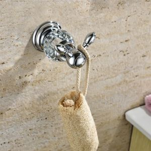 New Modern Chrome-colored Wall Mounted Single Copper & Natural Crystal Robe Hook