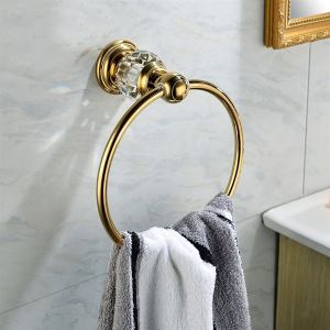 Contemporary Wall Mounted Golden Copper & Natural Crystal Towel Ring