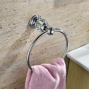 (In Stock) New Modern Wall Mounted Chrome-colored Copper & Natural Crystal Towel Ring