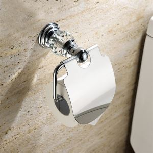 New Modern Wall Mounted Chrome-colored Toilet Paper Holder Copper & Natural Crystal Toilet Roll Holder