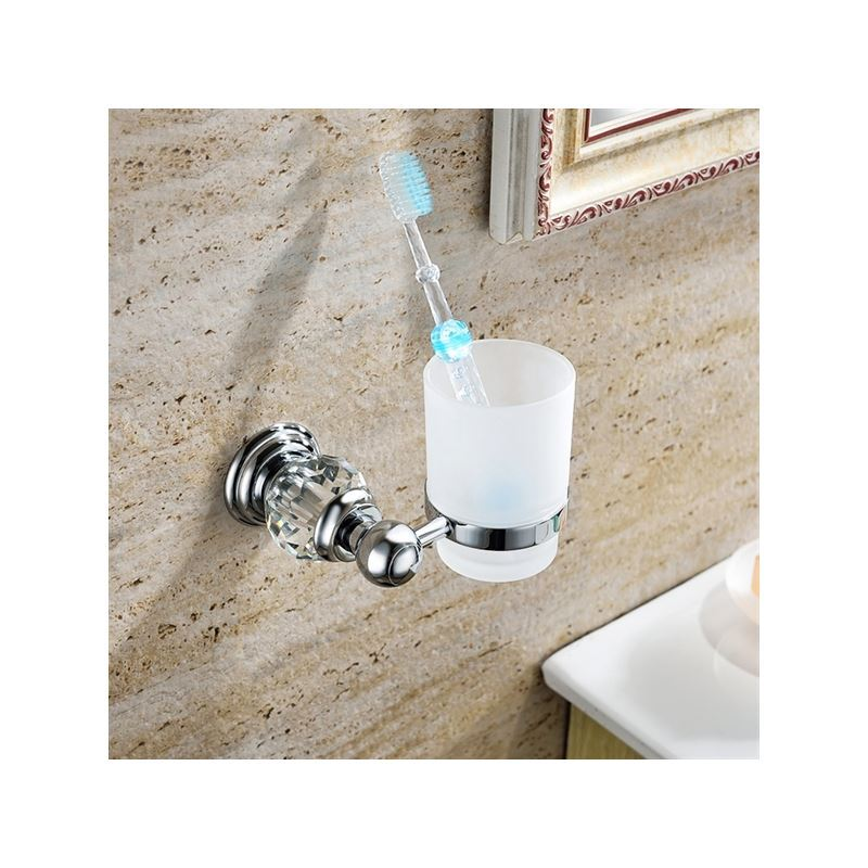 New Modern Wall Mounted Chrome-colored Toothbrush Cup Copper & Natural Crystal Toothbrush Holder