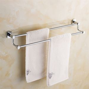Chrome Finish Contemporary Solid Brass Wall Mount Silver Towel Bars